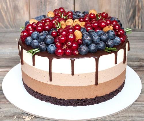 муссовый торт 3 шоколада - Торт три шоколада - пошаговый рецепт!