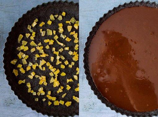 тарт с имбирным вареньем - Шоколадный тарт с имбирным вареньем без выпекания
